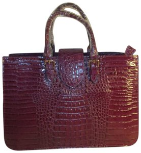 Koko Shantal Croc Embossed Faux Leather Man Made Tote Onm002 Satchel in purple