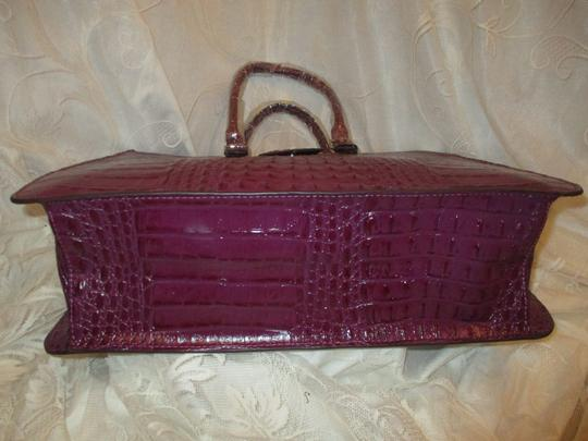 Koko Shantal Croc Embossed Faux Leather Man Made Tote Onm002 Satchel in purple Image 10