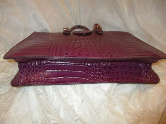 Koko Shantal Croc Embossed Faux Leather Man Made Tote Onm002 Satchel in purple Image 11