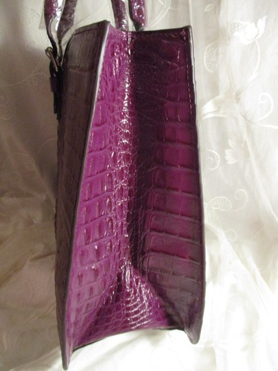 Koko Shantal Croc Embossed Faux Leather Man Made Tote Onm002 Satchel in purple Image 4