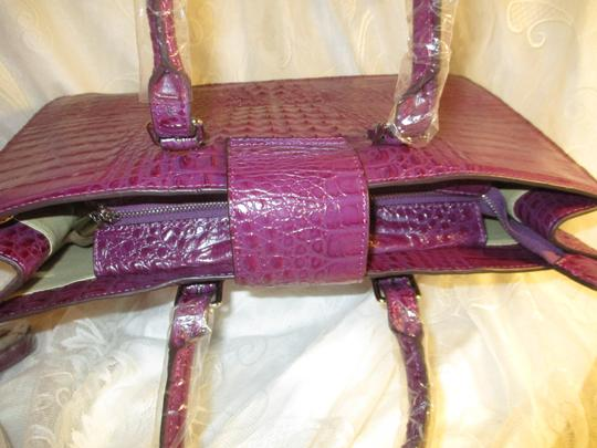 Koko Shantal Croc Embossed Faux Leather Man Made Tote Onm002 Satchel in purple Image 7