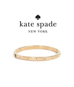 Kate Spade Gold Ks 16k Gold-plated Set In Stone Crystal Hinged Bangle Bracelet