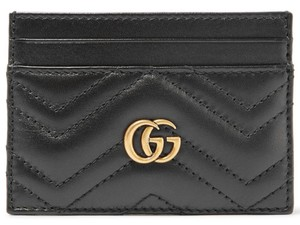 Gucci NEW GUCCI BLACK MARMONT LEATHER GG CARD HOLDER WALLET BAG