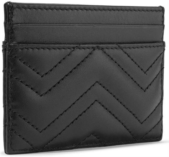 Gucci NEW GUCCI BLACK MARMONT LEATHER GG CARD HOLDER WALLET BAG Image 1
