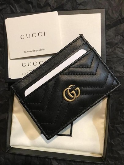 Gucci NEW GUCCI BLACK MARMONT LEATHER GG CARD HOLDER WALLET BAG Image 7