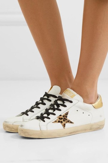 Golden Goose Deluxe Brand Sneakers Gold White leopard Athletic Image 3