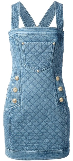 Item - Blue Denim Quilted Mini Halter Fr 40 Us Sold Out Short Casual Dress Size 8 (M)