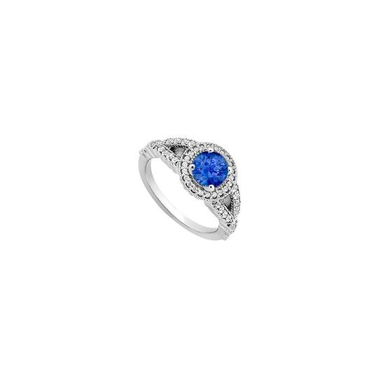 Marco B September Birthstone Created Sapphire CZ Halo Engagement Rings Image 2