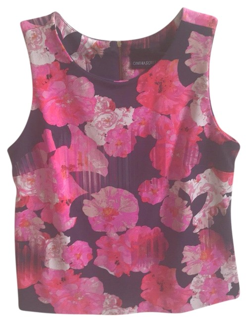 Preload https://img-static.tradesy.com/item/26102308/cynthia-rowley-pink-with-florals-sleeveless-tank-topcami-size-4-s-0-1-650-650.jpg