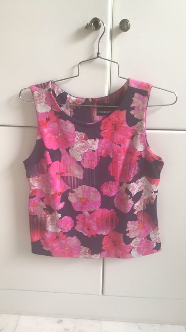 Cynthia Rowley Top pink with florals Image 1