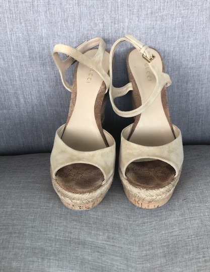 Gucci Tan Suede Wedges Image 1