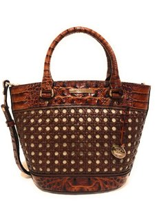 Brahmin Woven Textured Leather Convertible Tote in Brown