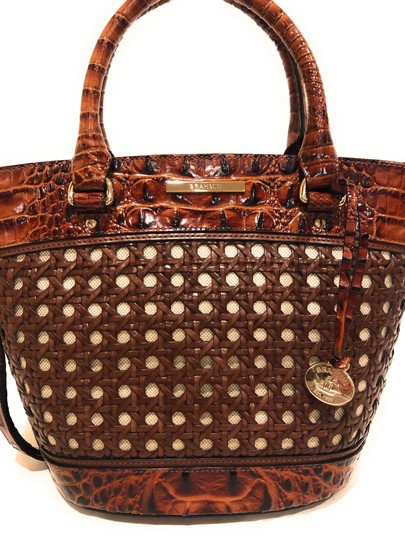 Brahmin Woven Textured Leather Convertible Tote in Brown Image 1