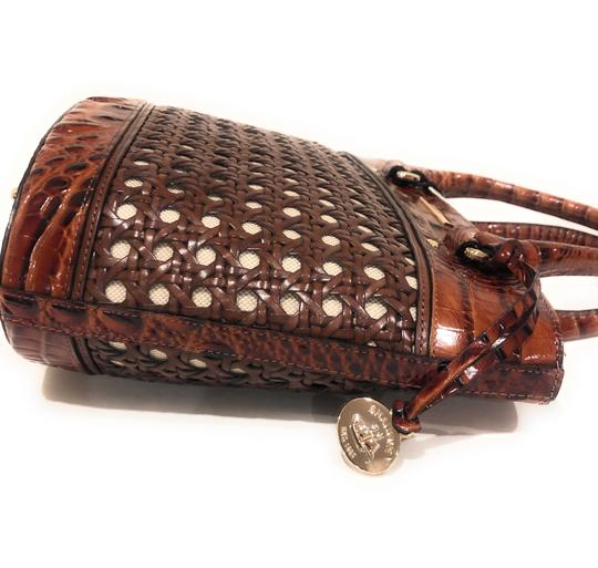 Brahmin Woven Textured Leather Convertible Tote in Brown Image 10