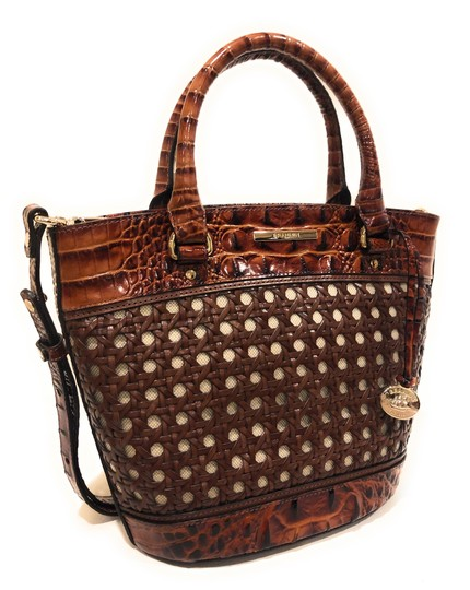 Brahmin Woven Textured Leather Convertible Tote in Brown Image 2