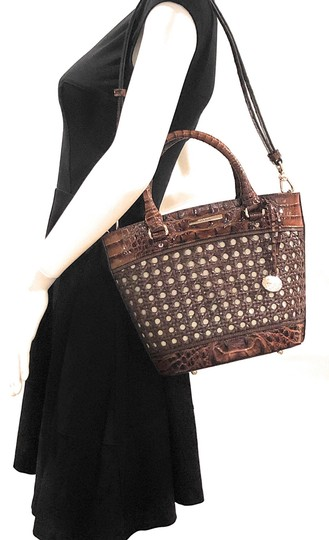 Brahmin Woven Textured Leather Convertible Tote in Brown Image 3
