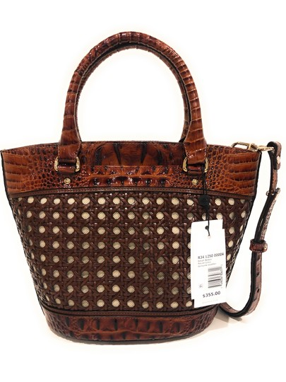 Brahmin Woven Textured Leather Convertible Tote in Brown Image 4
