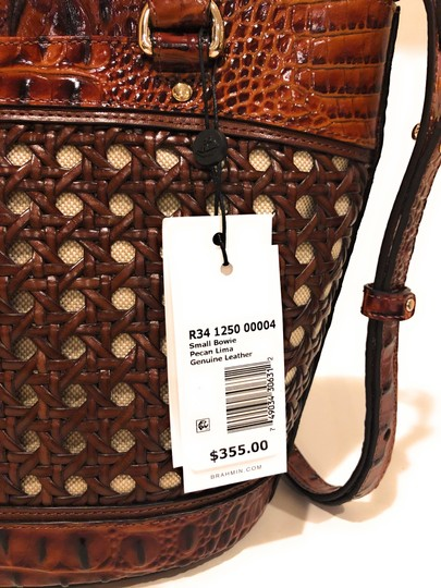 Brahmin Woven Textured Leather Convertible Tote in Brown Image 5