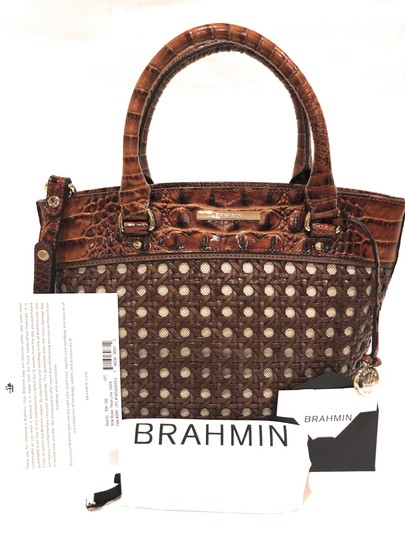 Brahmin Woven Textured Leather Convertible Tote in Brown Image 6