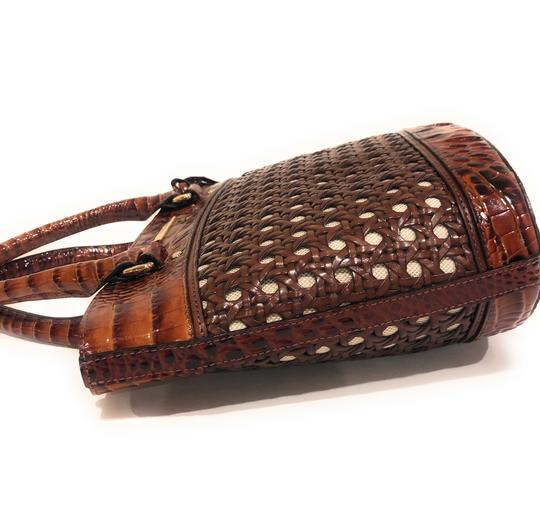 Brahmin Woven Textured Leather Convertible Tote in Brown Image 8