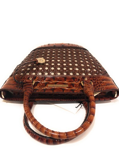 Brahmin Woven Textured Leather Convertible Tote in Brown Image 9