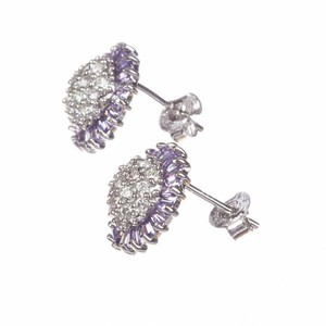 sterling silver Sterling Silver and Amethyst Cubic Zirconia Earrings
