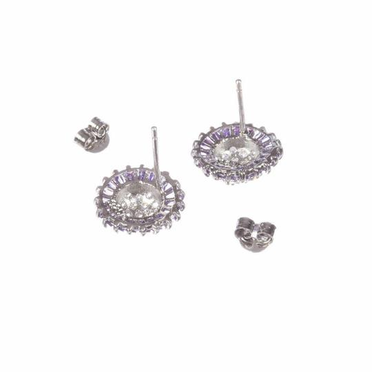 sterling silver Sterling Silver and Amethyst Cubic Zirconia Earrings Image 1