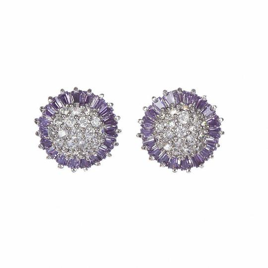 sterling silver Sterling Silver and Amethyst Cubic Zirconia Earrings Image 3