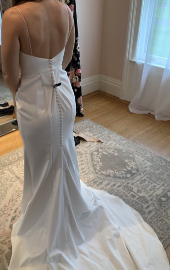 Silk White Crepe Colette Formal Wedding Dress Size 6 (S) Image 2