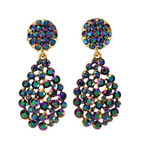 Oscar de la Renta Oscar de la Renta Signed Bold Pear-Cut Cluster Teardrop Earrings