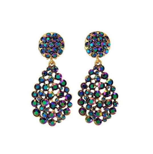 Oscar de la Renta Oscar de la Renta Signed Bold Pear-Cut Cluster Teardrop Earrings Image 1