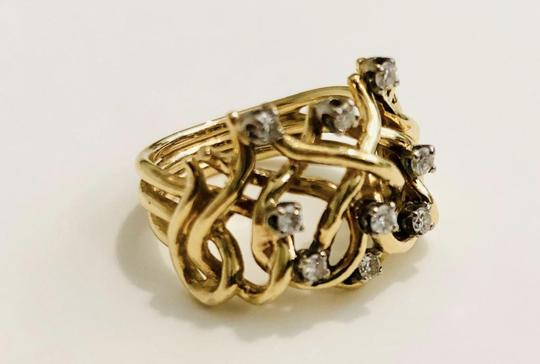 Unknown 1970s Modernist Diamond And 14 Karat Gold Ring 6.5 Image 2