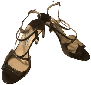 Jimmy Choo Mirror Leather Bronze Sandals
