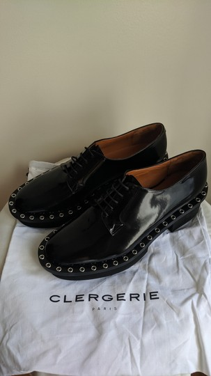 Robert Clergerie Studded Leather Oxford Black Platforms Image 6
