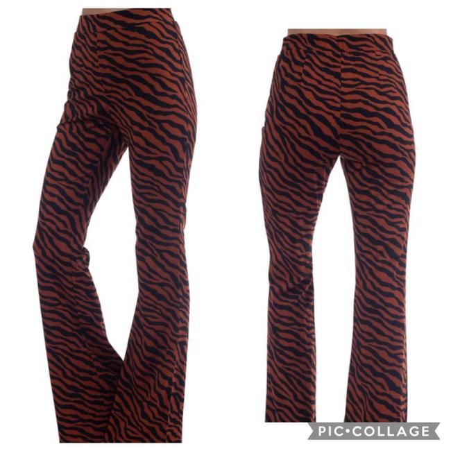 Blu Trends Flare Pants Rust & Black Image 1