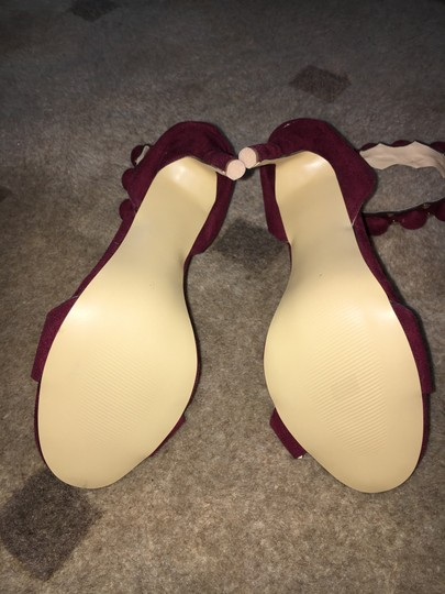Only Maker by Amazon Microfiber Ankle Strap Stiletto Wine Sandals Image 3