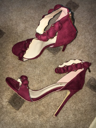 Only Maker by Amazon Microfiber Ankle Strap Stiletto Wine Sandals Image 6