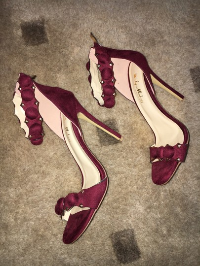 Only Maker by Amazon Microfiber Ankle Strap Stiletto Wine Sandals Image 7