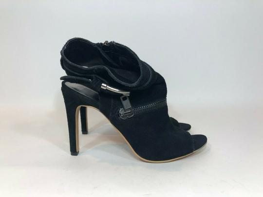 DV by Dolce Vita Suede Leather Zipper Ankle Open Toe Black Pumps Image 1