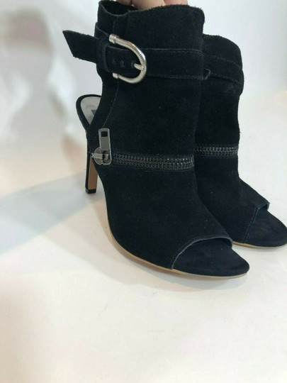 DV by Dolce Vita Suede Leather Zipper Ankle Open Toe Black Pumps Image 2