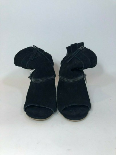 DV by Dolce Vita Suede Leather Zipper Ankle Open Toe Black Pumps Image 3