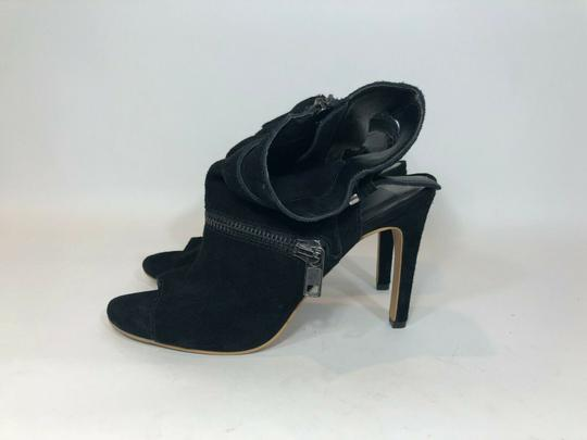 DV by Dolce Vita Suede Leather Zipper Ankle Open Toe Black Pumps Image 4