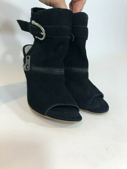 DV by Dolce Vita Suede Leather Zipper Ankle Open Toe Black Pumps Image 5