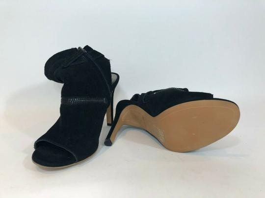 DV by Dolce Vita Suede Leather Zipper Ankle Open Toe Black Pumps Image 7
