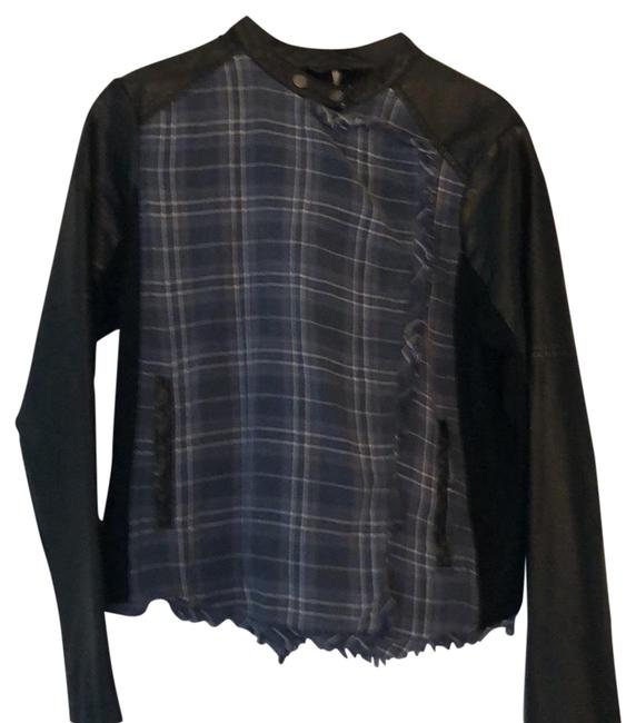 Item - Blue and White Plaid Black Back and Sleeves. Ca#32064 Jacket Size 10 (M)