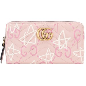 Gucci New Gucci Pink Leather Marmont Ghost Zip Around Wallet Clutch 448087