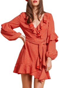 Finders Keepers short dress Red Polka Dot Wrap Ruffle Boho on Tradesy