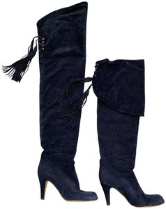 Chloé Luxury Bohemian Classic Icon Suede Navy blue Boots