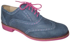 Cole Haan Wing Tip Oxford Leather Onm001 blue & pink Flats