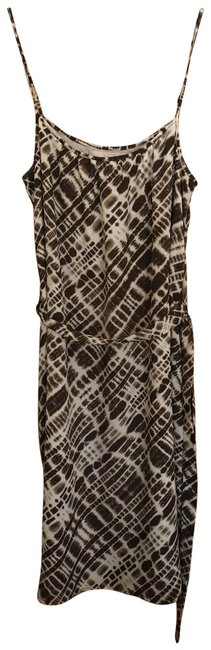 Item - Brown and White Mid-length Short Casual Dress Size 4 (S)
